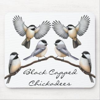 Chickadees capsulados negro adaptable Mousepad Alfombrilla De Ratón