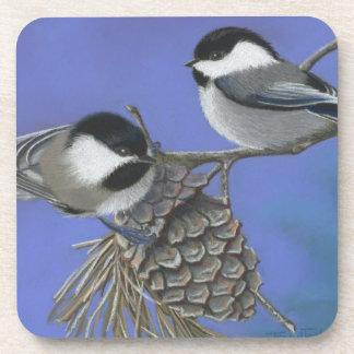 Chickadees Drink Coaster