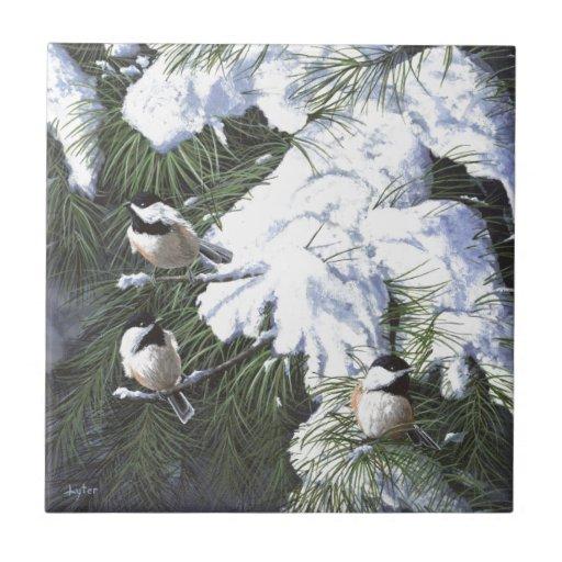 """""""Chickadees del invierno """" Azulejo Cuadrado Pequeño"""