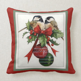 Chickadees Holly Berries Ornaments Bow Throw Pillow