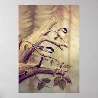 CHICKADEES - impresión de la lona Póster