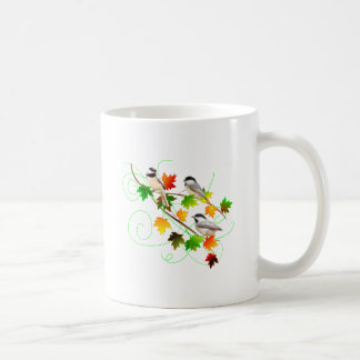 Chickadees in Fall Leaves Coffee Mug