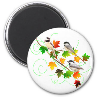 Chickadees in Fall Leaves Magnets