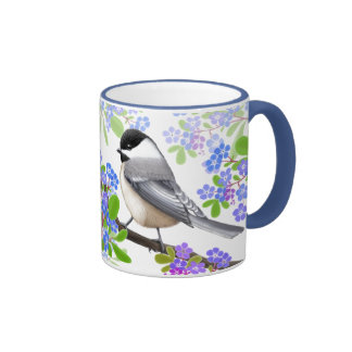 Chickadees in Forget Me Not Flowers Mug