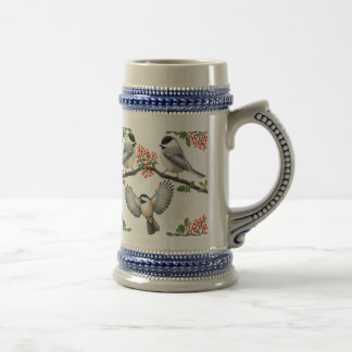 Chickadees in Red Berries Stein