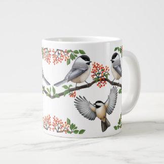 Chickadees in Red Berry Branches Mug 20 Oz Large Ceramic Coffee Mug