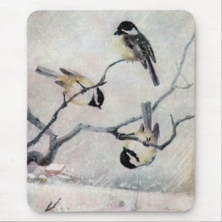 Chickadees in the Snow Mouse Pad