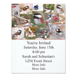 Chickadees in Winter Collage 4.25x5.5 Paper Invitation Card