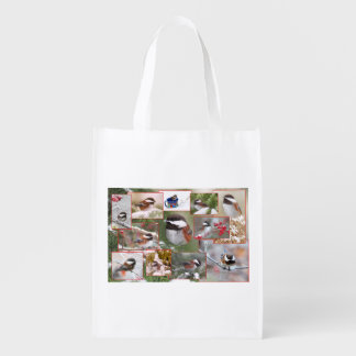 Chickadees in Winter Collage Grocery Bag