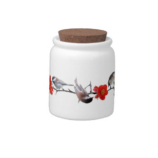 Chickadees on Quince Blossoms Candy Jar