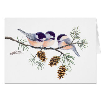 CHICKADEES & PINE CONES by SHARON SHARPE Greeting Card