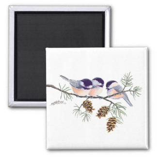CHICKADEES & PINECONES by SHARON SHARPE 2 Inch Square Magnet