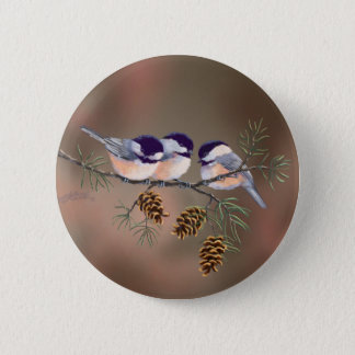 CHICKADEES & PINECONES by SHARON SHARPE Button