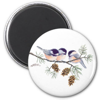 CHICKADEES & PINECONES by SHARON SHARPE Magnet