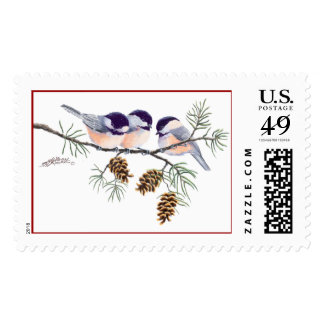CHICKADEES & PINECONES by SHARON SHARPE Postage