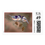 CHICKADEES & PINECONES by SHARON SHARPE Postage Stamp
