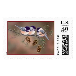 CHICKADEES & PINECONES by SHARON SHARPE Postage Stamp