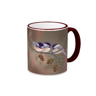 CHICKADEES & PINECONES by SHARON SHARPE Ringer Coffee Mug
