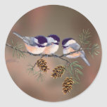 CHICKADEES & PINECONES by SHARON SHARPE Round Stickers