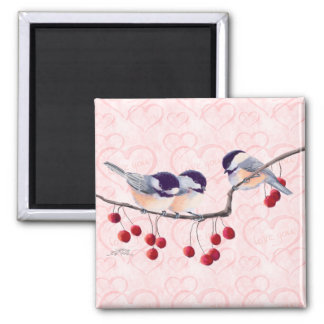 CHICKADEES & RED BERRIES by SHARON SHARPE 2 Inch Square Magnet