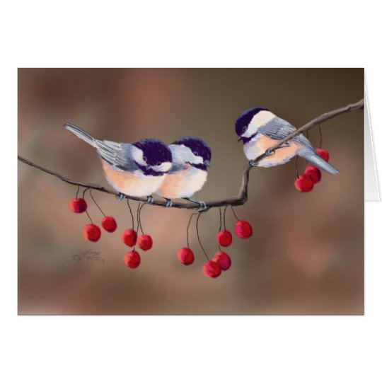 CHICKADEES & RED BERRIES by SHARON SHARPE Card