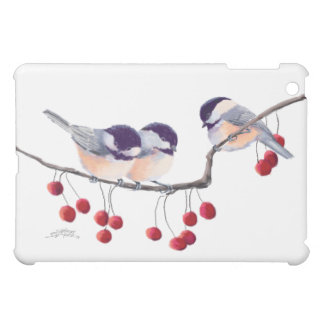 CHICKADEES & RED BERRIES by SHARON SHARPE iPad Mini Case