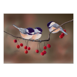 CHICKADEES & RED BERRIES by SHARON SHARPE Poster