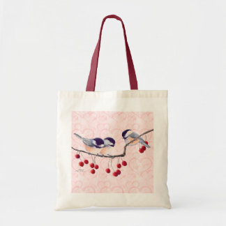 CHICKADEES & RED BERRIES by SHARON SHARPE Tote Bag
