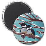 Chickadees round magnet