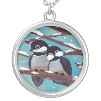 Chickadees silver necklace