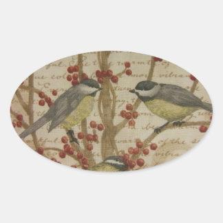 Chickadees Oval Stickers