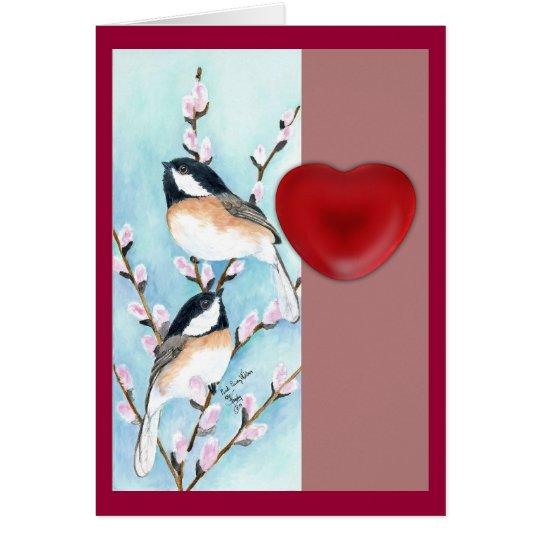 chickadees valentine card