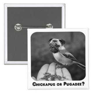 ¿Chickapug o Pugadee blanco y negro divertido Bot Pin