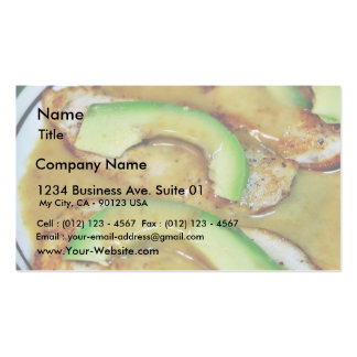 Chicken And Avocados With Sherry Cream Sauce Business Card Template