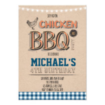 Chicken and bbq dinner party invitation