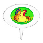 chicken and chick green oval cake toppers