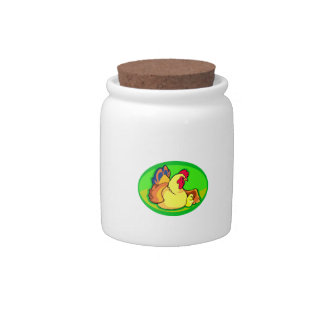 chicken and chick green oval candy jars
