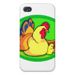chicken and chick green oval case for iPhone 4