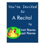 chicken and chick green oval custom invitations