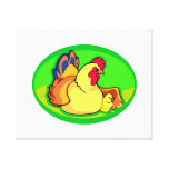 chicken and chick green oval gallery wrap canvas