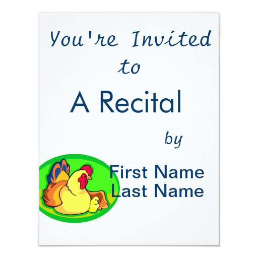 """chicken and chick green oval 4.25"""" x 5.5"""" invitation card"""
