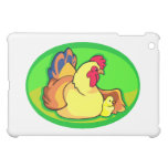 chicken and chick green oval iPad mini cases