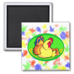 chicken and chick green oval magnets