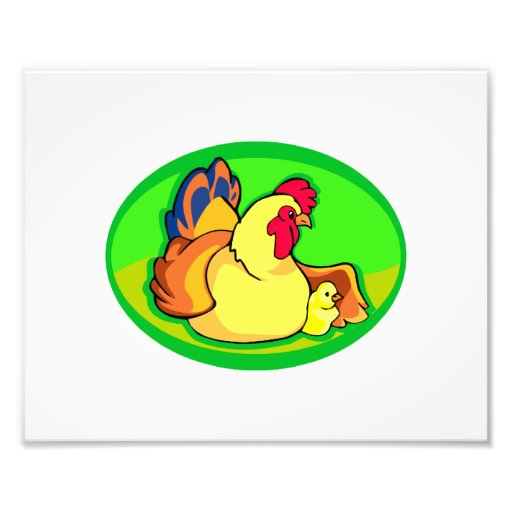 chicken and chick green oval photo print