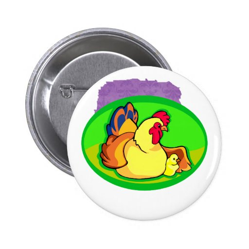 chicken and chick green oval pins
