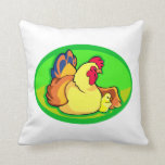 chicken and chick green oval throw pillows