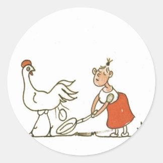 Chicken and Egg Classic Round Sticker