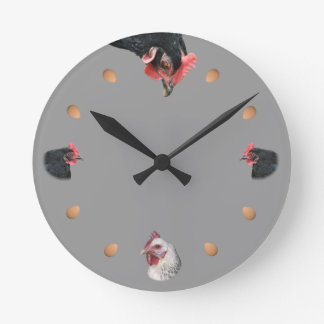 Chicken and egg round wall clocks