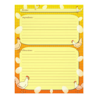 """Chicken and egg farm theme recipe page 8.5"""" x 11"""" flyer"""