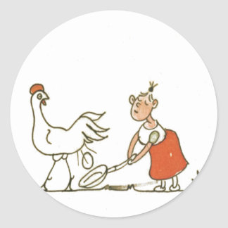 Chicken and Egg Round Sticker